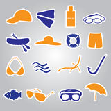 Summer and beach stickers eps10 Royalty Free Stock Image