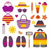 Summer Beach Stuff and Accessories Icons. Beach stuff and accessories icon set. Summer holidays sea recreation sunbathing elements with bathing suit, flip flops vector illustration