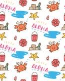 Summer beach stuff doodle seamless pattern stock illustration