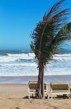 Summer beach sun chairs lounger near tropical sea Stock Photo