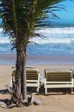 Summer beach sun chairs lounger near tropical sea Royalty Free Stock Photos