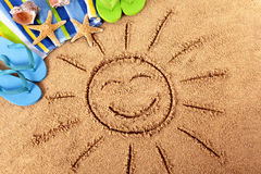 Summer beach vacation smiling face sun fun Stock Images