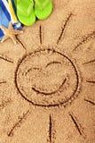 Summer beach vacation smiling face sun fun vertical Royalty Free Stock Photos