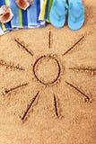 Summer beach sand sun vertical Stock Images