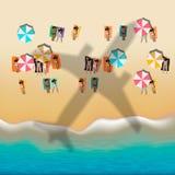 Summer beach with sunbathing people Stock Photos
