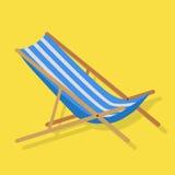 Summer Beach Sunbed Lounger. Flat design simple blue white stripes summer beach sunbed lounger chair wood  on yellow. Vector illustration Stock Photo