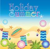 Summer -03. Summer beach, with sunglasses, background illustration art Vector Illustration