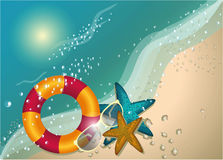 Summer beach sunny concept,sign,vector background, illustration. Summer beach vector concept,background, illustration.shells frame on the beach. Vector Stock Images