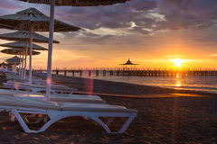 Summer beach sunrise sunset Stock Image
