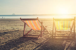 Summer beach sunset with empty couple bed travel Stock Image