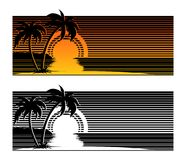 Tropical beach sunset with palm trees. Summer beach sunset with palm trees silhouettes. Tropical sunset landscape stylized by stripes Stock Photos