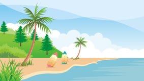 Summer beach with surf board. Beautiful Summer beach with surf board, rock and coconut trees Stock Photos