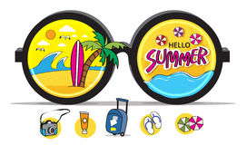 Summer beach surfing icons vector illustration