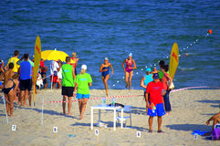Summer beach swimming race final Royalty Free Stock Images