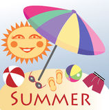 Summer beach. Symbolic objects of summer holiday with funny cartoon sun Stock Photography