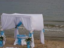 Summer beach tent near the sea Royalty Free Stock Photos