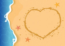 Summer beach texture background with a heart shape on sand. Stock Images