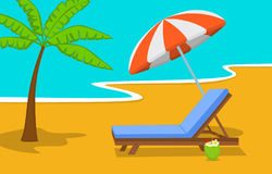 Summer beach time vacation background with umbrella, sun lounge chair and palm tree. At seaside Royalty Free Stock Image