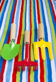 Summer beach towel colourful children's toys. Stock Photography