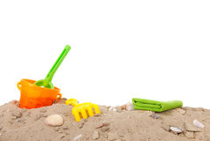 Summer beach with toys. Summer beach with plastic toys on white background Stock Image
