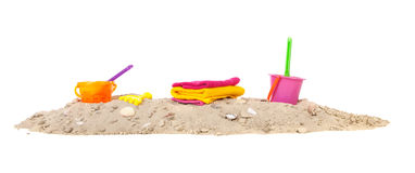 Summer beach with toys. Summer beach with plastic toys on white background Stock Photography