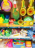 Summer beach toys for sale in a shop Royalty Free Stock Photos