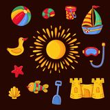 Summer beach toys symbols icons doodle set. Summer beach sweeming toys games activity symbols colorful doodle icons doodle set Royalty Free Stock Images