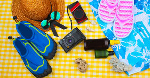 Summer Beach Travel Kit Royalty Free Stock Images