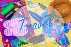 Summer Beach Travel Kit Royalty Free Stock Photos