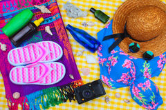 Summer Beach Travel Kit stock photography