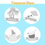 Summer beach travel logo vector illustration Stock Photos