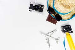 Summer Beach travel objects and gadgets on white Stock Photos
