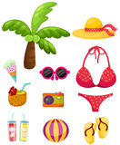 Summer beach  travel set Royalty Free Stock Photos
