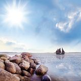 Summer beach tropical landscape with sailboat Royalty Free Stock Photo