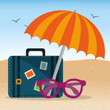 Summer beach umbrella suitcase and glasses design. Vector illustration eps 10 Stock Images