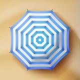 Summer Beach Umbrella Vector. Parasol Sunshade Top View. Beach Umbrella Vector. Realistic Parasol Icon. Sand Background. Relax Illustration vector illustration