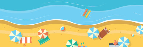 Summer beach with umbrellas and towels. Panoramic background banner. Stock Photo