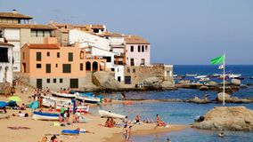 Summer on the Beach under the Sun in Spain. Typical Mediterranean beach in summer day stock footage