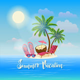 Summer Beach Vacation Banner. Exotic Tropical Island Royalty Free Stock Images
