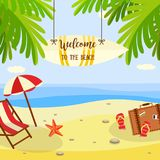 Summer beach vacation banner with lounge and travel accessories on sand with palm trees near sea water. stock illustration