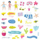 Summer Beach Vacation Childish Elements Set with Kids, Fish and Bird. Cute Decoration with Sea Creatures for Fabric. Decor, Wallpaper, Wrapping Paper. Vector Stock Photography