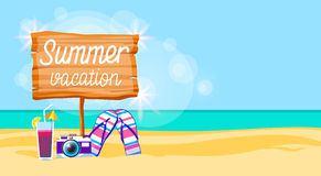 Summer Beach Vacation Colorful Poster Flip Flops Camera Cocktail Sand Tropical Banner Copy Space Royalty Free Stock Photography