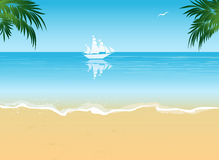 Summer beach vacation concept background. Summer vacation sea views, beach abstract background royalty free illustration