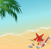 Summer beach vacation concept background. Summer vacation sea views, beach abstract background stock illustration