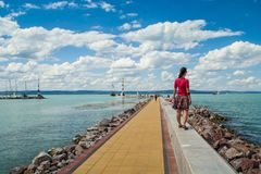 Summer beach vacation concept Balaton royalty free stock photos