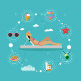Summer beach vacation concept vector illustration in flat style. Beautiful woman sun bathing in a lounge chair. Tropical Royalty Free Stock Photos