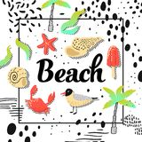 Summer Beach Vacation Design with Seagulls and Palms in Childish Style. Cute Background with Ice Cream. And Abstract Elements for Decoration. Vector Royalty Free Stock Photography