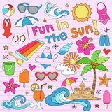 Summer Beach Vacation Doodles Vector Elements