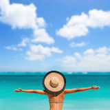 Summer Beach Vacation Happy Cheering Joyful Woman Stock Photography