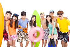 Summer, beach, vacation, happy young group Stock Images